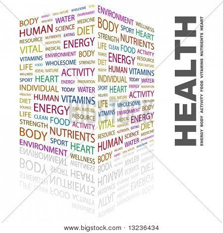 HEALTH. Word collage on white background. Illustration with different association terms. stock photo