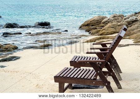 Beach lounge chairs on the beach in the morning. vacation time.beach holiday.beach travel.summer time