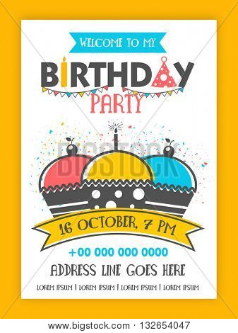 Birthday Party Invitation Card design, Happy Birthday Background with colorful cupcakes on confetti