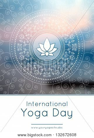 Vector yoga illustration. Template of poster for International Yoga Day. Flyer for 21 June Yoga day. Lotus on an ethnic pattern background. Linear design. Trendy yoga poster banner.