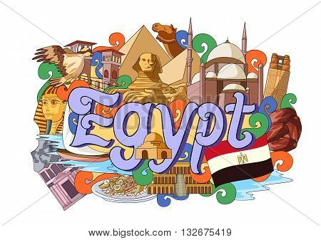 vector illustration of Doodle showing Architecture and Culture of Egypt