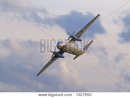 antonov an-24 flying during airshow in prague stock photo