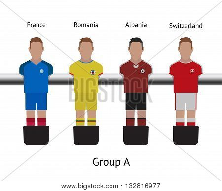 Table football game, Soccer table with players Football players kit. Soccer teams. France, Romania, Albania, Switzerland stock photo