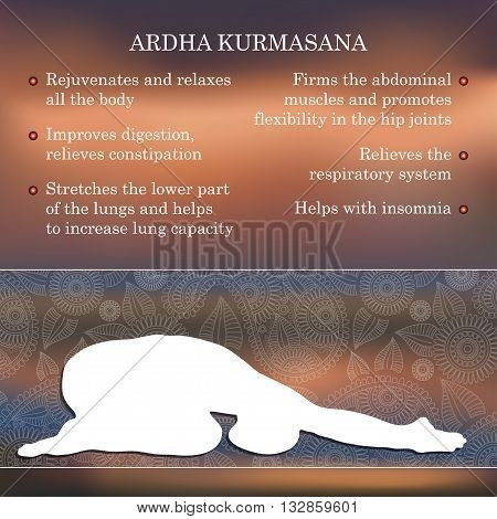Yoga pose infographics, benefits of practice Ardha Kurmasana stock photo