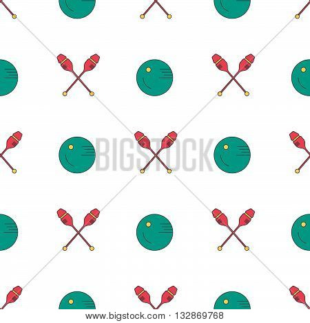 Modern seamless pattern with different rhytmic gymnastics equipment - clubs and bakk. Great texture for web sites invitations announcements and competition background made in vector. Sports vector series. stock photo