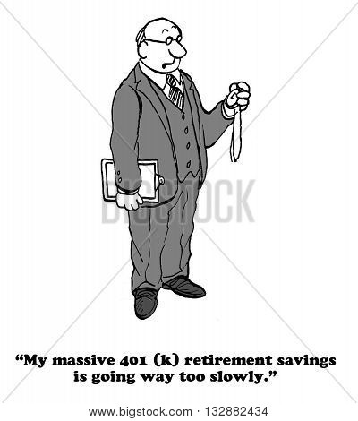 Business cartoon about a businessman who wants his 401(k) to grow faster. stock photo