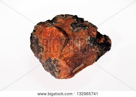 small mineral stone on the white background stock photo