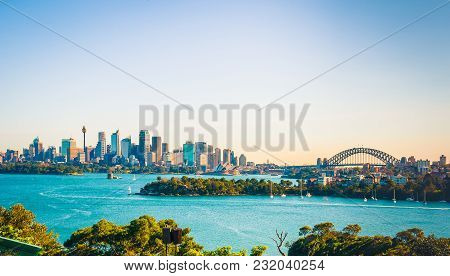 The city skyline of Sydney, Australia. Circular Quay and Opera House. stock photo