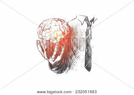 Brain concept. Hand drawn hand holding human brain. Symbol of creativity and inspiration isolated vector illustration. stock photo