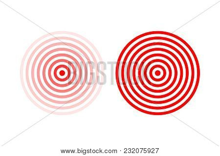 Targets or pain location symbol set. Red vector pain location signs isolated on white background stock photo