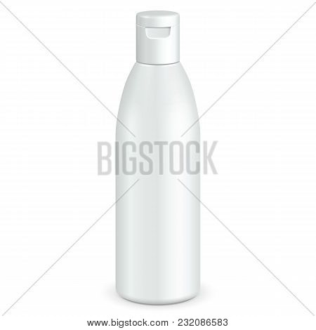 Cosmetic, Hygiene, Medical Grayscale White Plastic Bottle Of Gel, Liquid Soap, Lotion, Cream, Shampoo. Ready For Your Design. Illustration Isolated On White Background. Vector EPS10 stock photo