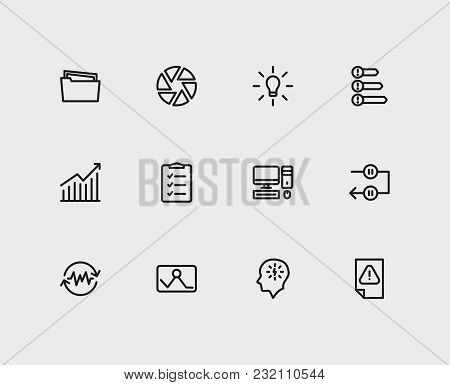 Task icons set. Periodic breaks and task icons with urgent task, manage stress and group tasks. Set of elements including device for web app logo UI design. stock photo