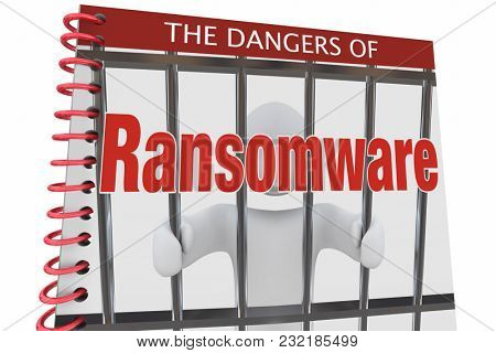 Dangers of Ransomware Internet Cyber Attacks Book 3d Illustration stock photo