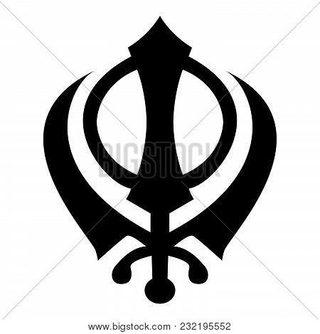 Khanda symbol sikhi sign icon black color vector illustration flat style simple image stock photo