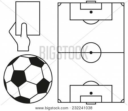 Line art soccer ball, field, referee card icon set. Sport vector illustration for gift card, flayer, certificate banner, icon, logo, patch sticker stock photo