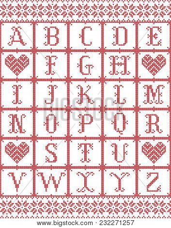 Scandinavian style Alphabet  inspired by Norwegian Christmas, festive winter seamless pattern in cross stitch with heart, snowflake elements red, white cross stitch stock photo