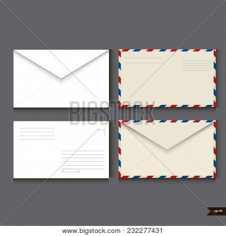 Set of two white paper envelope and two airmail envelope on gray background. Vector illustration stock photo