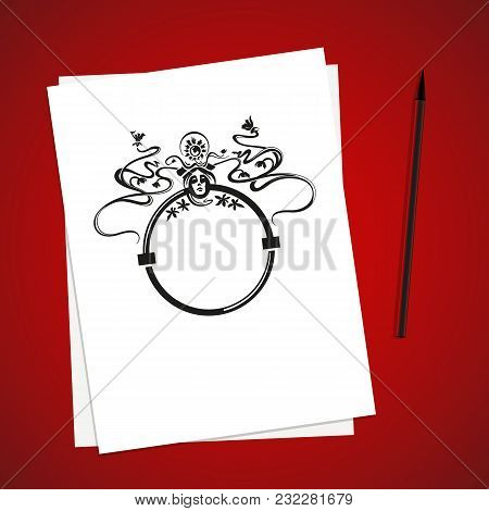 White paper list on red table and brushpen. Vector illustration. Simple template design. Mockup for sketches and drawings. Art nouveau ornament with flowers and face. Round frame. stock photo