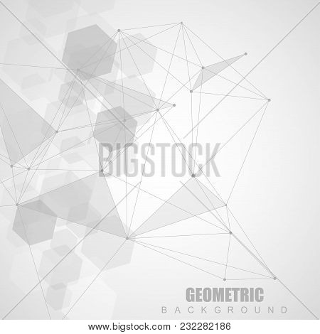 Modern futuristic background of the scientific hexagonal pattern. Virtual abstract background with particle, molecule structure for medical, technology, chemistry, science. Social network vector stock photo