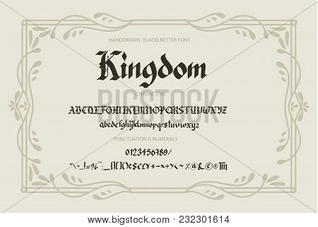 Blackletter gothic script hand-drawn font. Decorative vintage styled letters. stock photo