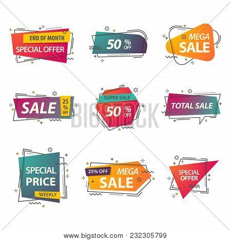 Discount geometric tags or linear stickers with prices. Labels for advertisement of closeout, coupon for retail or sign for clearance, voucher. Selling and retail, commerce and trading, shop theme stock photo