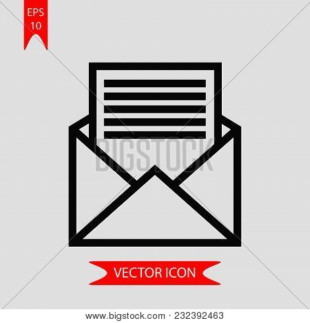 Open envelope icon vector in modern flat style for web, graphic and mobile design. Open envelope icon vector isolated on white background. Open envelope icon vector illustration, editable stroke and EPS10. Open envelope icon vector simple symbol for app,  stock photo
