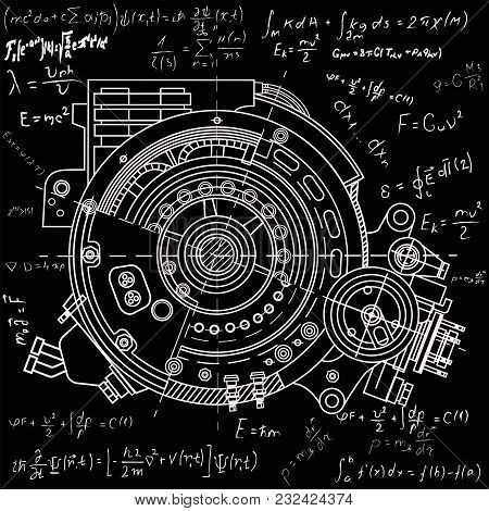 Drawing the electric motor section representing the internal structure and mechanisms. It can be used to illustrate the ideas related to science, engineering design and high-tech. Chalk on blackboard stock photo