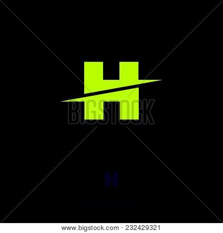 H letter H monogram. Flat yellow letter on a dark background. stock photo
