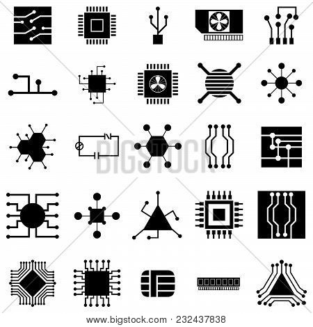the circuit board vector of icon set stock photo