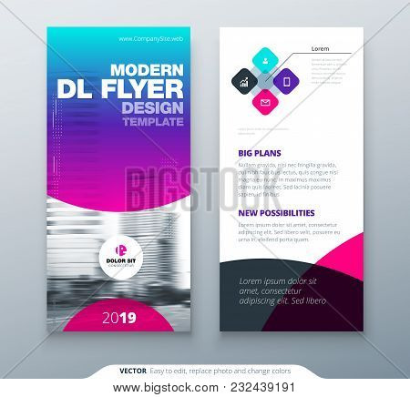 DL Flyer design. Purple business template for dl flyer. Layout with modern circle photo and abstract background. Creative flyer or brochure concept stock photo