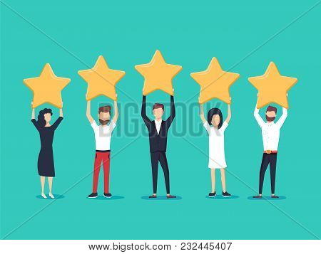 Five Stars Rating Flat Style Vector Concept. People Are Holding Stars Over The Heads. Feedback Consu