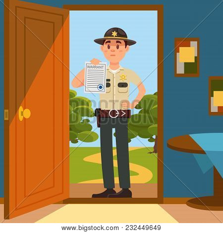 Town male sheriff police officer character in official uniform standing on the doorstep of the house and showing warrant sheet of paper vector Illustration, web desgn stock photo