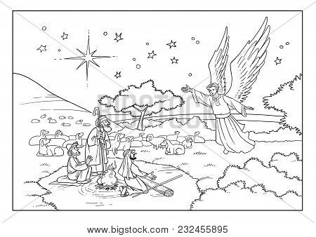 The Angel visits the Shepherds on the Field and tells them about the Birth of the Savior in the city of Bethlehem. stock photo