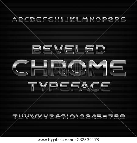 Chrome effect alphabet font. Metal beveled letters numbers and symbols. Stock vector typeface for any typography design. stock photo