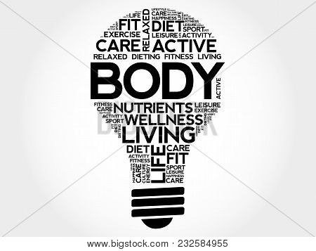BODY bulb word cloud collage, health concept background stock photo