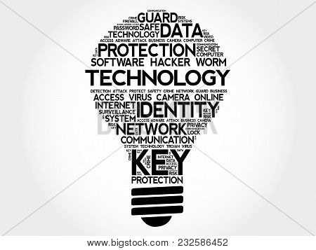 TECHNOLOGY bulb word cloud collage, business concept background stock photo