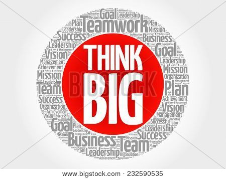 Think Big word cloud collage, business concept background stock photo