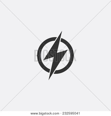 Lightning, electric power vector icon design element. Energy and thunder electricity symbol concept. Lightning bolt sign in the circle. Flash vector emblem template. Power fast speed logotype, logo stock photo