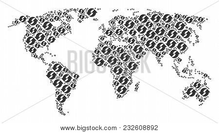 World map composition organized of refresh elements. Vector refresh items are organized into conceptual worldwide plan. stock photo