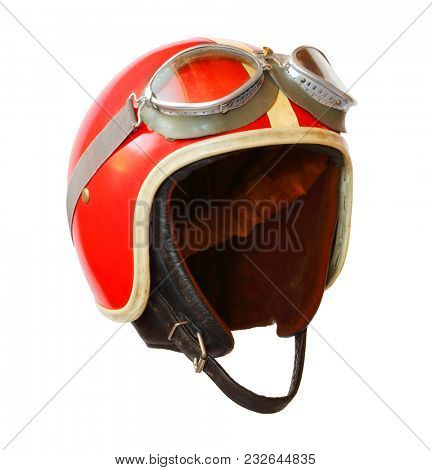 Retro helmet with goggles on a white background. Protective headwear for motorcycle and automobile race.  stock photo