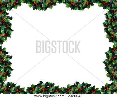 ▷ Holly Garland Frame Or Border photo stock