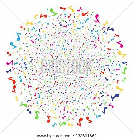 Psychedelic Musical Note sparkler globula. Vector globula explosion designed from scatter musical note items. Multi Colored Vector abstraction. stock photo
