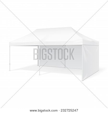 Promotional Advertising Outdoor Event Trade Show Pop-Up Tent Mobile Marquee. Mock Up, Template. Illustration Isolated On White Background. Product Advertising Vector illustration stock photo