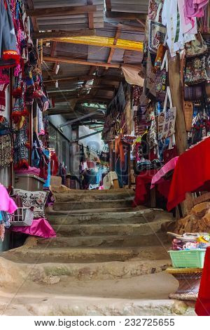 Doi Pui hill tribe village, handicraft market of the ethnic minority of miao or hmong or maew people in Chianf Mai province, Northern Thailand. Inside the market place stock photo