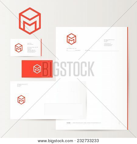 M logo and identity. M box logo. Red logo on business card, letter, envelope. stock photo