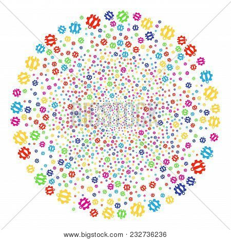 Psychedelic Service Tools bang round cluster. Vector sphere salute created from randomized service tools items. Psychedelic Vector abstraction. stock photo