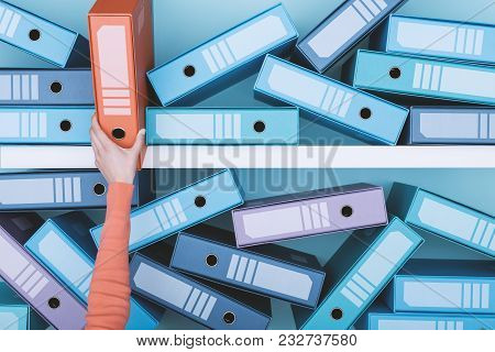 Office worker taking a folder in the archive: database, administration and file management concept stock photo