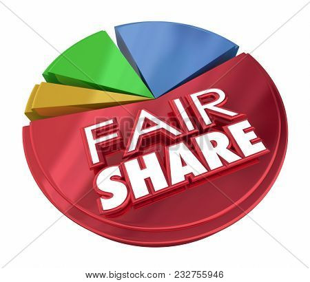 Fair Share Equal Treatment Pay Portion Pie Chart 3d Illustration stock photo