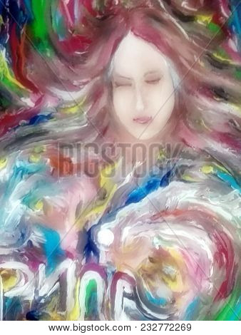 oil painting, portrait, my darling, woman in dreams stock photo