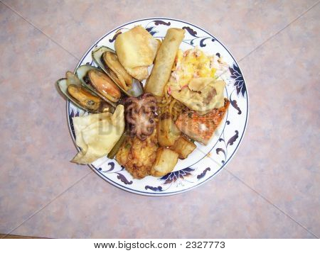 a variety of food in chinese restaurant stock photo